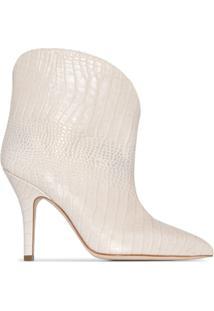 Paris Texas Ankle Boot Com Efeito Pele De Crocodilo E Salto 90Mm - Branco