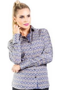 Camisa Carlos Brusman Slim Reta Arabesco Azul