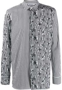 Neil Barrett Striped Floral Shirt - Preto