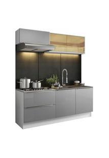 Cozinha Completa Madesa Lux Com Armário E Balcão 5 Portas 2 Gavetas Branco/Cinza Cor:Branco/Cinza
