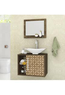 Conjunto Para Banheiro Baden Madeira Rústica/Madeira 3D - Bechara Móveis