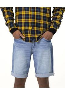 Bermuda Com Barra Dobrada Em Jeans
