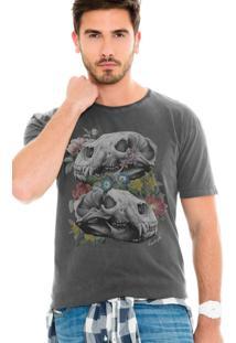 Camiseta Lavish Urso Caveiras Preta Estonada