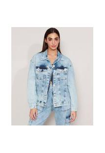 Jaqueta Ampla Longa Jeans Marmorizada Com Bolsos Azul Claro