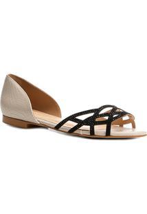 Sapatilha Shoestock Aberta Cristais Feminina - Feminino-Off White
