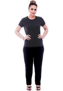 Pijama Feminino Blusa Estampa Poá Viés Calça Comprida - Feminino-Preto
