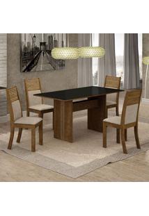 Conjunto De Mesa De Jantar Florença I Com 4 Cadeiras Havaí Linho Preto E Bege