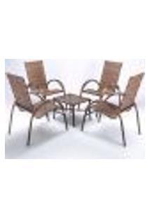 Conjunto Mesa De Centro E 4 Cadeiras Cravo Para Área Edicula Jardim, Ferro E Fibra Trama Fechada Argila