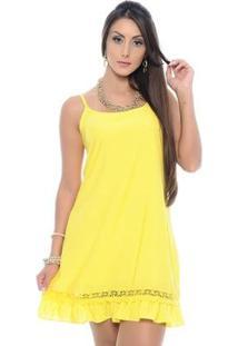 Vestido B'Bonnie Soltinho De Alças Reguláveis Yasmim - Feminino-Amarelo