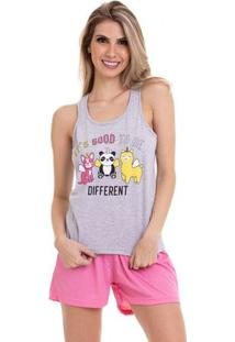 Pijama Short Doll Regata Different Luna Cuore