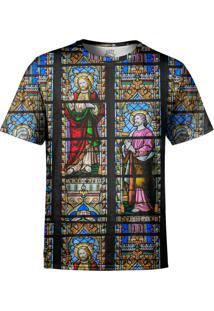 Camiseta Estampada Over Fame Vitral Igreja Multicolorida