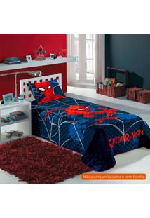 Colcha Infantil Spider Man (150X210) Algodão Azul Marinho