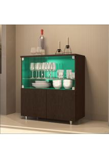 Cristaleira Bar 4 Portas Luxo 4000 Jb Bechara Imbuia/Acquamarine