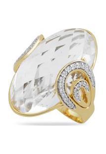 Anel Ouro Amarelo Cristais E Diamantes