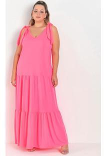 Vestido Longo Rosa Neon Com Amarração Plus Size
