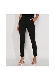 Calça Social Feminina Cintura Alta Bengaline Alfaiataria Skinny Estampada Mini Print Com Bolsos Preta