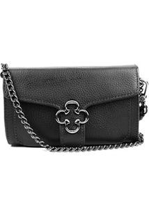 Bolsa Couro Capodarte Mini Bag Alça Corrente Feminina - Feminino-Preto
