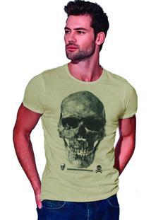 Camiseta Estonada Corte À Fio Joss Caveira Premium - Areia