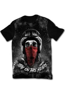 Camiseta Manga Curta Stompy Skull Biker Rock Preto