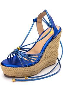 Sandália Amarrar Flor Da Pele Anabela Salto Alto Azul
