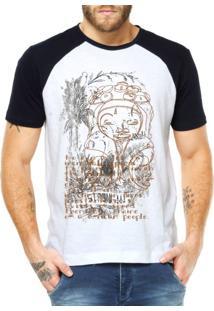 Camiseta Raglan Criativa Urbana Étnico Africano Branco