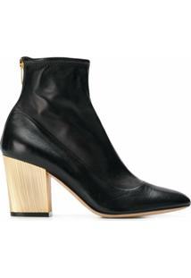 Sergio Rossi Ankle Boots Em Couro Com Salto Metálico - Preto