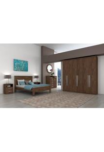 Dormitorio Lopas Alonzo Casal Completo 4 Peças Imbuia Soft