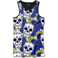 Camiseta Insane 10 Regata Caveiras Com Flores Sublimada Preto Azul 2e67eb6c99a