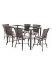 Jogo De Jantar 6 Cadeiras Turquia Pedra Ferro A23 E 1 Mesa Retangular Sem Tampo Ideal Para Área Externa Coberta