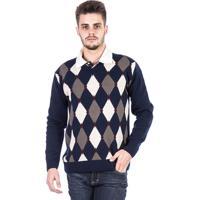 b504e0a4f9 Blusa Tricot Malha Carlan Losango Masculina - Masculino-Marinho