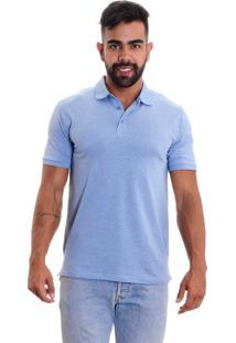 Camisa Polo Areia Branca Slim Fit Mescla Azul