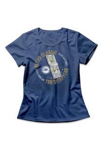 Camiseta Feminina Tetris Retro Mini Game Azul