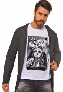 Camiseta Masculina Joss Catrina Flores Branco