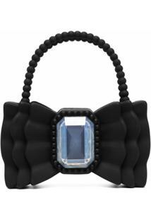 Forbitches Bow-Shape Bead Shoulder Bag - Preto