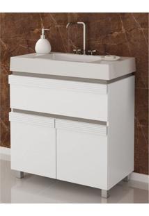 Gabinete Para Banheiro Com Cuba E Espelheira Grécia 80 Balcony Branco Supremo/Connect