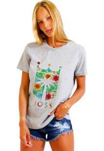 Camiseta Joss Feminina Floral Cinza
