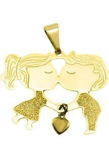 Pingente Casal Tudo Joias Folheado A Ouro 18K - Feminino-Dourado