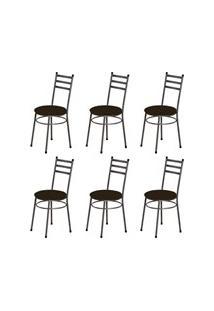 Kit 6 Cadeiras Baixas 0.135 Redonda Craqueado/Marrom Escuro - Marcheli