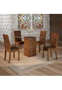 Conjunto De Mesa De Jantar Havana Com 4 Cadeiras Rubi Veludo Chocolate Marrom
