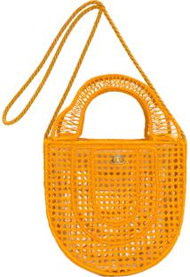 Bolsa Feminina Coroa Fibra Vazada - Amarelo
