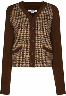 Re/Done Houndstooth Panelled Knit Cardigan - Marrom