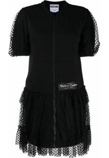 Moschino Vestido De Jérsei Com Sobreposição De Tule - Preto