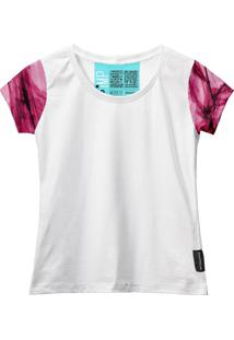 Camiseta Baby Look Feminina Algodão Estampa Estilo Leve Moda Azul Claro/Branco G Rosa - Kanui