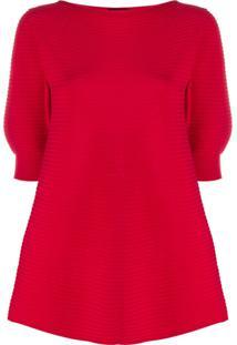 Emporio Armani Blusa De Tricô Com Listras - Vermelho