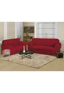 Capa Para Sofá Bia Enxovais Elegance 21 Elásticos 02 Peças Vermelho