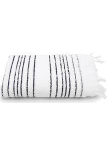 Toalha De Rosto Artex Total Mix Fio Penteado Striped Com Franjas 50X80Cm Branco
