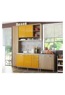 Cozinha Compacta Completa Multimóveis Com 4 Peças Sicília 5812 Argila/Amarelo