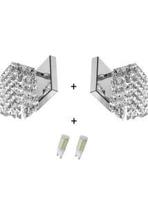 2 X Arandela De Cristal Legitimo Clearwall Com Lâmpadas 6000 - Tricae