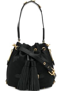 Moschino Logo Plaque Bucket Bag - Preto