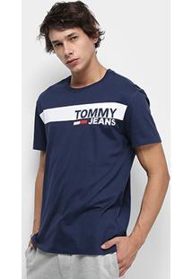 Camiseta Tommy Jeans Essential Box Logo Tee Masculina - Masculino-Azul Escuro